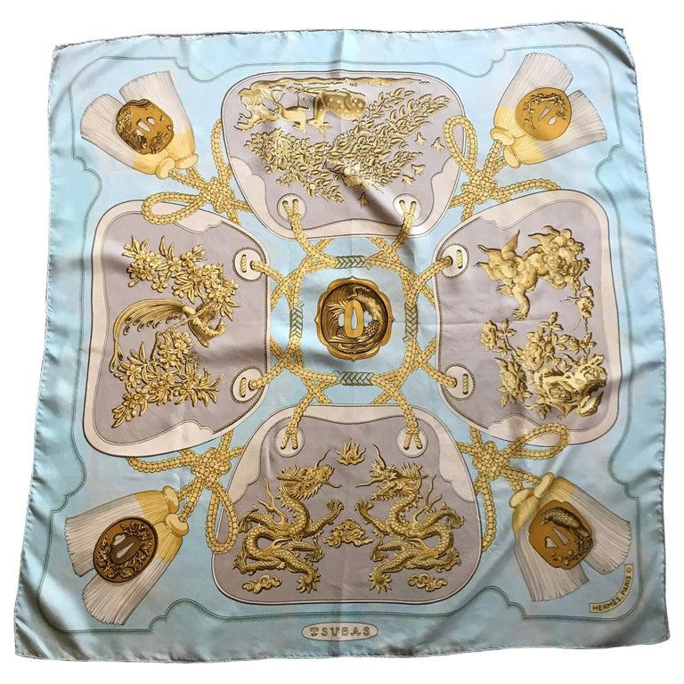 "Hermes Vintage Silk Scarf ""Tsubas"" by  Christiane Vauzelles 1971  For Sale"