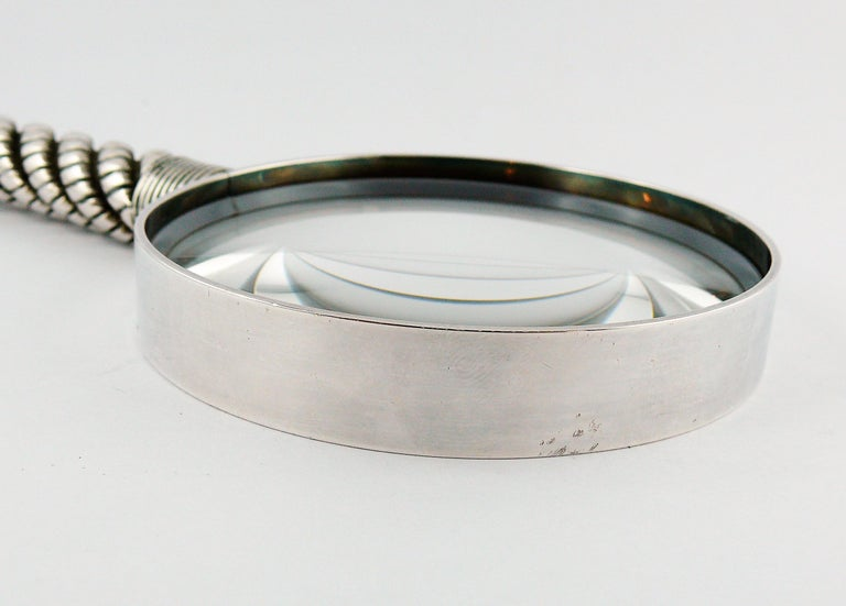 Hermes Vintage Silve Plate Twisted and Braided Rope Desk Magnifier For Sale 5