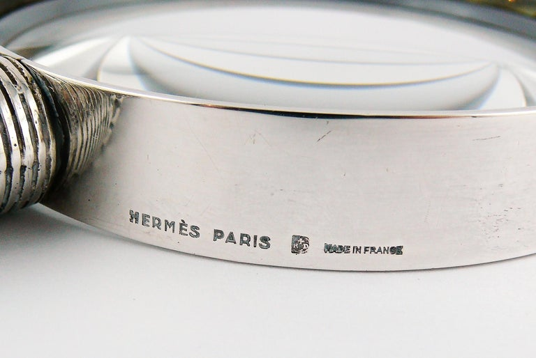 Hermes Vintage Silve Plate Twisted and Braided Rope Desk Magnifier For Sale 7