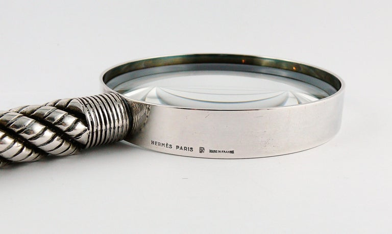 Hermes Vintage Silve Plate Twisted and Braided Rope Desk Magnifier For Sale 2
