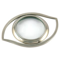 Hermes Vintage Silver Plated Cleopatra Eye Desk Magnifying Glass Paperweight