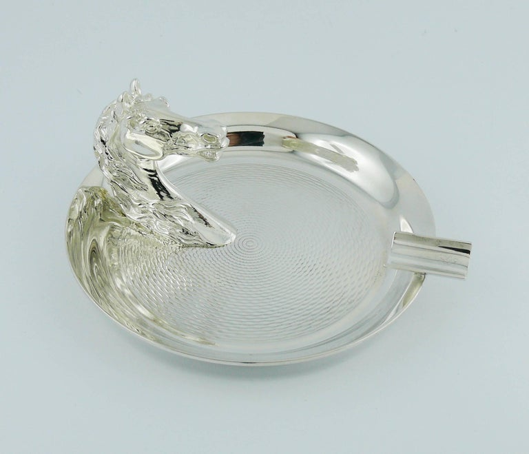 Women's or Men's Hermes Vintage Silver Plated Horse Head Equestrian Ashtray For Sale