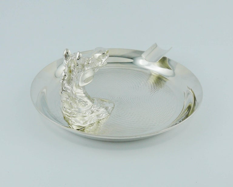 Hermes Vintage Silver Plated Horse Head Equestrian Ashtray For Sale 1