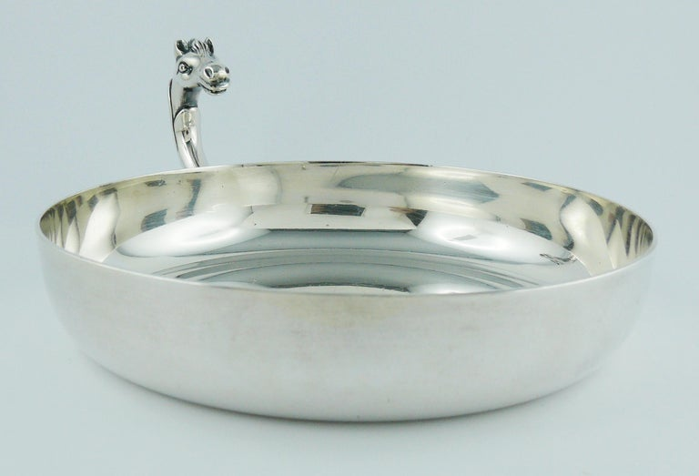 Hermes Vintage Silver Plated Horse Head Pin Tray For Sale 3