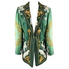 HERMES Vintage Size 8 Green Cosmos Print Silk Twill Single Button Blazer