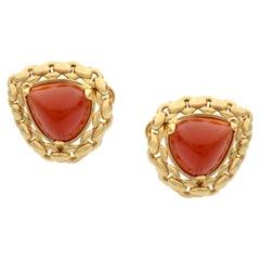 Hermes Vintage Sugarloaf Carnelian 18 Karat Yellow Gold Earring