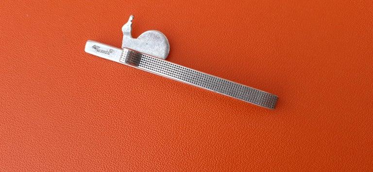 Hermès Vintage Tie Clip in Silver Snail Pattern Rare 2