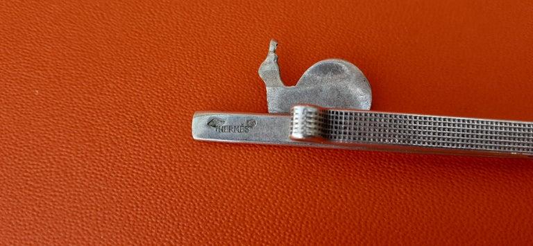 Hermès Vintage Tie Clip in Silver Snail Pattern Rare 3