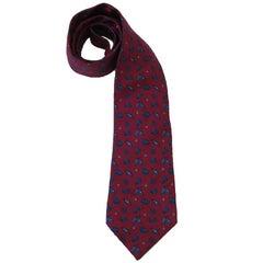 HERMES Vintage Tie in Fuchsia Printed Silk