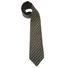 HERMES Vintage Tie in Printed Anthracite Gray Silk