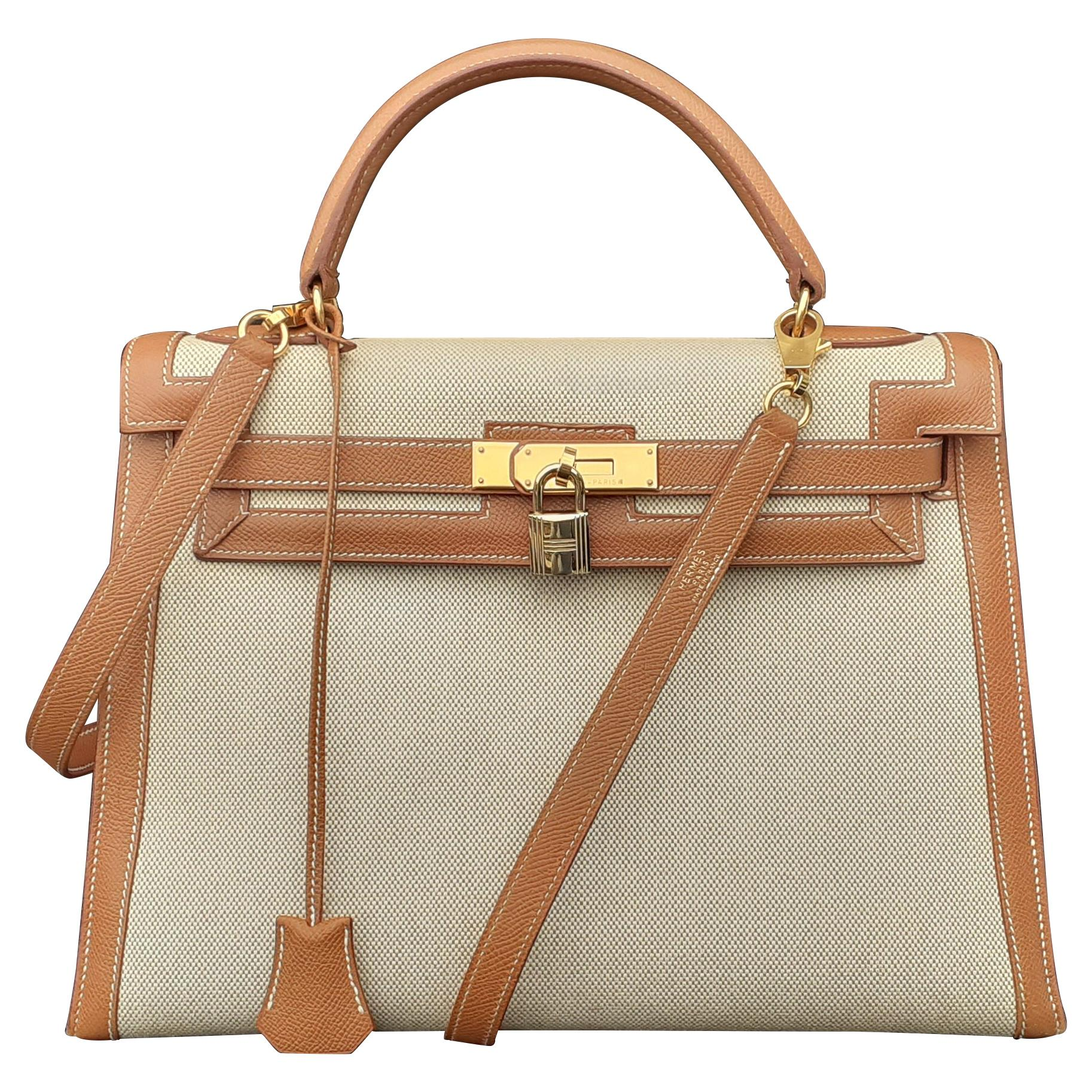 Hermès Vintage Toile Canvas and Gold Leather Kelly 32 Bag Golden Hdw RARE