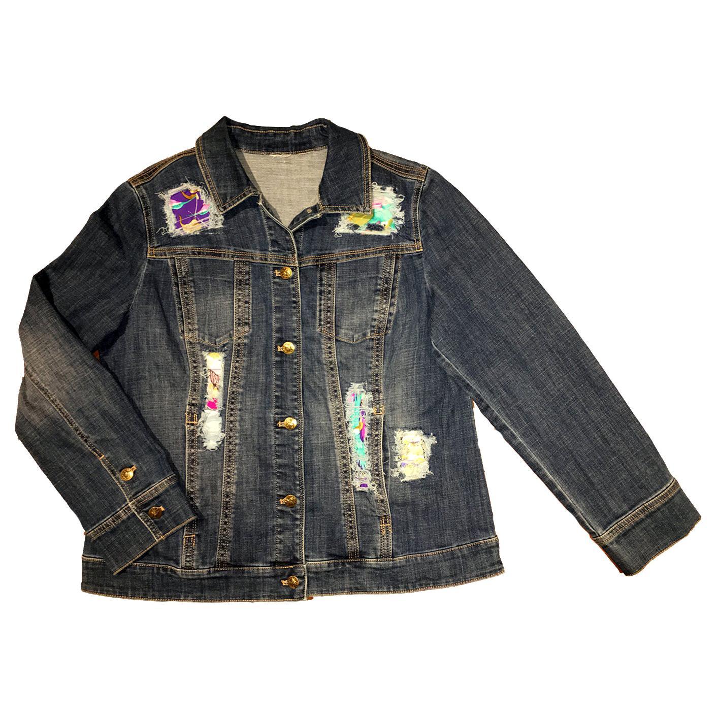 Hermes Vintage Tropiques Silk Scarf Distressed Denim Jacket - Medium