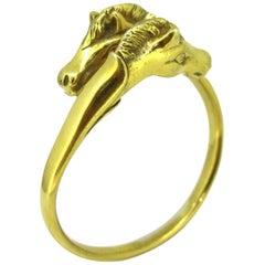 Hermès Vintage Two Horse Heads Sterling Gold Plated Bangle Bracelet