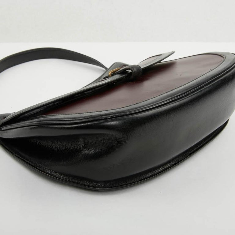 Hermes Vintage Two-Tone Bag Plum And Black Leather 8
