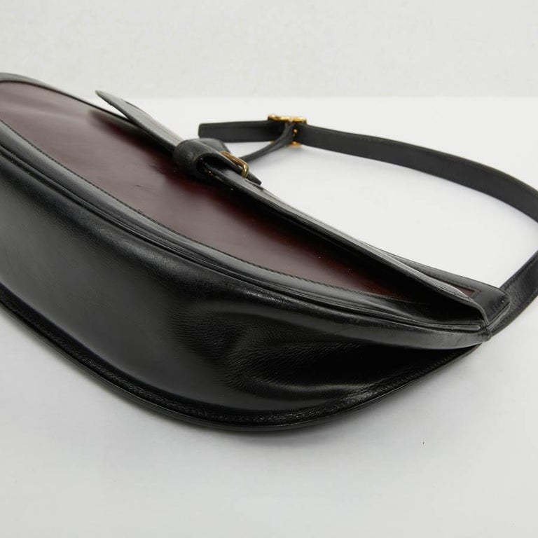 Hermes Vintage Two-Tone Bag Plum And Black Leather 9