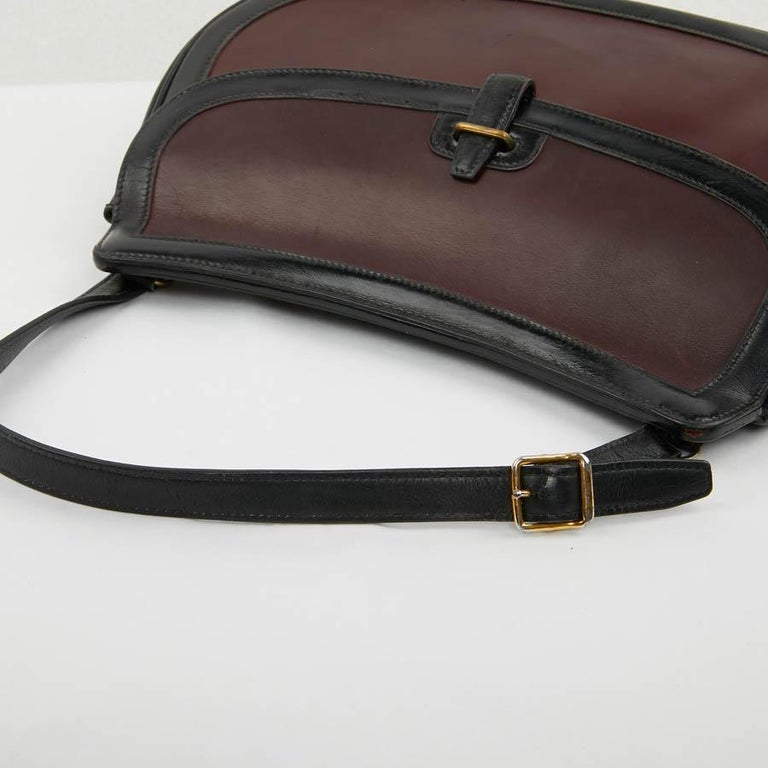Hermes Vintage Two-Tone Bag Plum And Black Leather 10