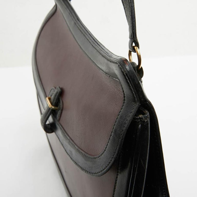 Hermes Vintage Two-Tone Bag Plum And Black Leather 13