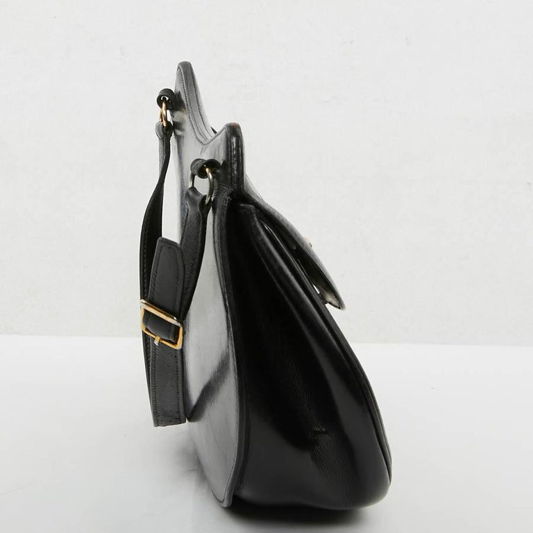 Hermes Vintage Two-Tone Bag Plum And Black Leather 5