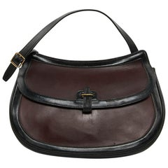 Hermes Vintage Two-Tone Bag Plum And Black Leather