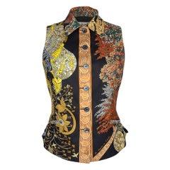 Hermes Vintage Vest Les Legendes De L'Arbre Scarf Print  38 / 4