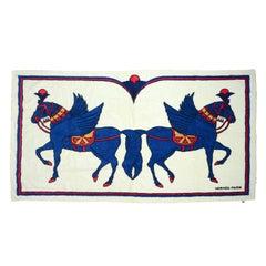 "Hermes Vintage White/Blue Terry Cloth Pegasus Towel 57"" x 37"""