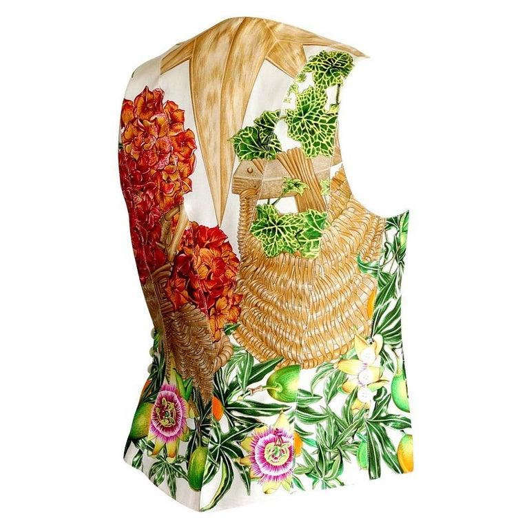 Hermes Vintage White Linen Front Scarf Print Back Vest 38 / 6