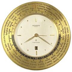 Hermes Vintage World Time Alarm Calendar 8 Day Desk Clock