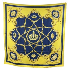 Hermes Vintage Yellow and Blue Silk Scarf Couronnes Crowns 1969 Abadie