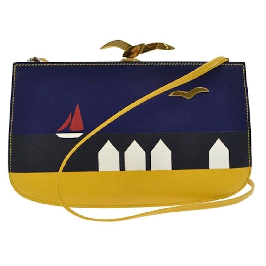 Hermes Vintage Yellow Blue Black Leather Boat Bird Gold Clutch Shoulder in Box