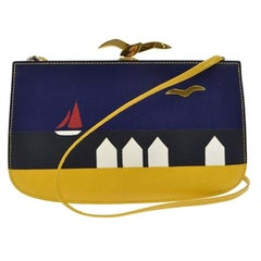 Hermes Vintage Yellow Blue Black Leather Boat Bird Gold Clutch Shoulder in Box