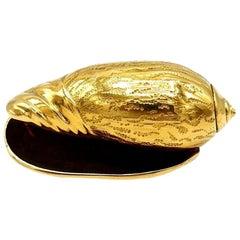 Hermès Vintage Yellow Gold Snail Shell Pin Brooch