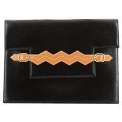 Hermes Vintage Zig Zag Flap Clutch Box Calf Medium