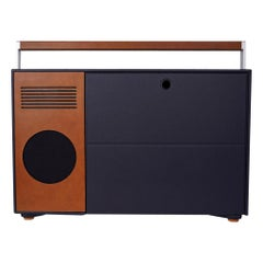 Hermes Vinyl Boombox Leather / Canvas Vertical Record Player w/Bluetooth New