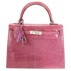Hermès Violet Lizard Sellier Kelly 25 PHW