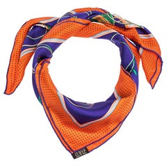 Hermes Violet & Orange Transformation Cars Silk Twill Square Scarf