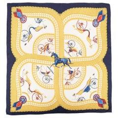 Hermes Voitures Paniers by J.Abadie Navy Silk Scarf
