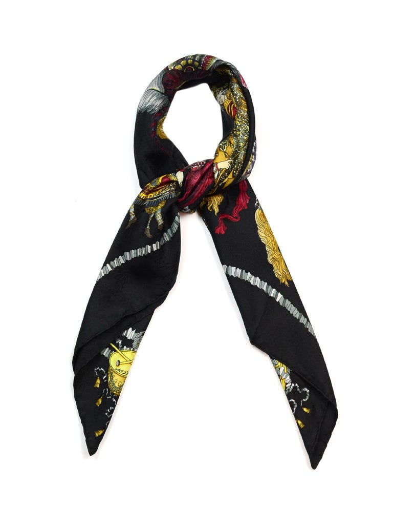 Hermes Vintage Black Les Fetes Du Roi Soleil By Michel Duchene 90cm Silk Jacquard Scarf  Made In: France Year of Production: Vintage Color: Black/multi-color Materials: 100% silk Overall Condition: Excellent vintage, pre-owned condition  Estimated