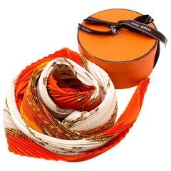 Hermes Vue De Carrosse de la Galere la Reale Plisse Silk Scarf 90