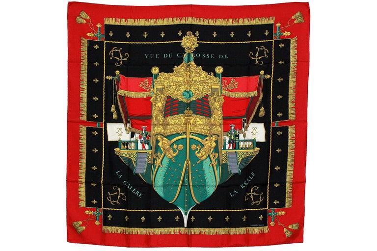 Hermes silk scarf  Vue du Carrosse de la Galere Ship print  100% silk  Made in France Original condition folds and hand-rolled hem