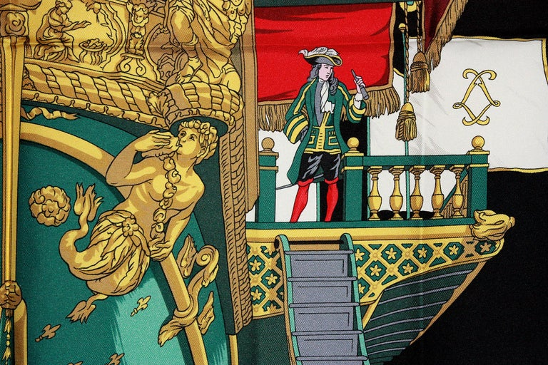 Hermes Vue du Carrosse de la Galere Ship Silk Scarf For Sale 1