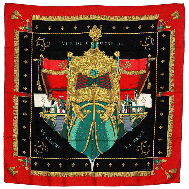 Hermes Vue du Carrosse de la Galere Ship Silk Scarf For Sale