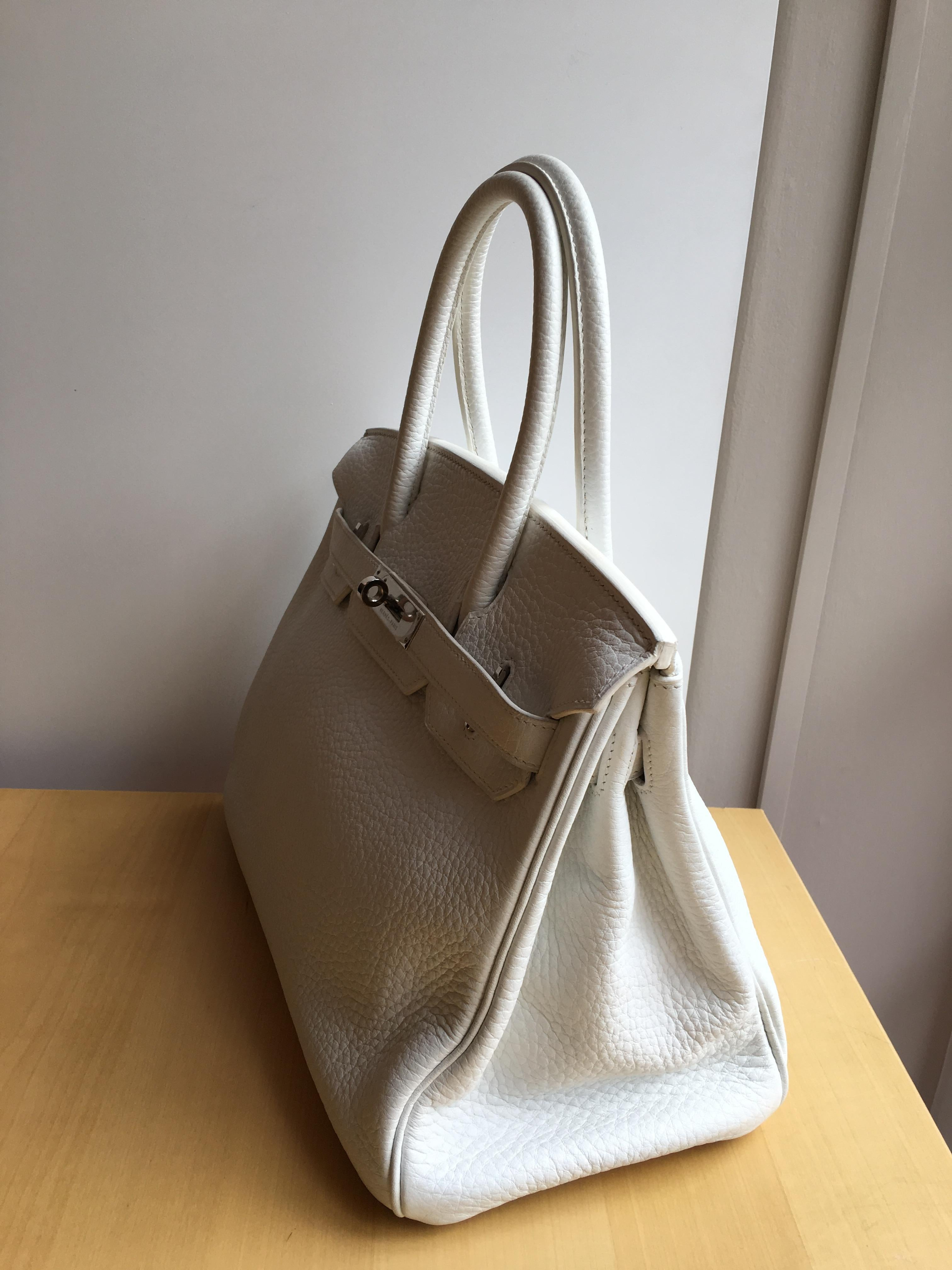 02669ec5a73d Hermes white Birkin 30cm in Clemence with palladium For Sale at 1stdibs