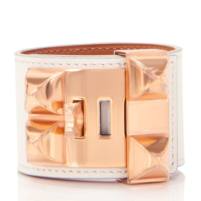 Hermes White Collier de Chien CDC Cuff Bracelet in Swift Leather with Rose Gold Hardware  Sublime!  The ultimate bracelet from Hermes in the rarest White color! White CDC with Rose Gold is extremely rare as it is rarely ever produced. Brand new in