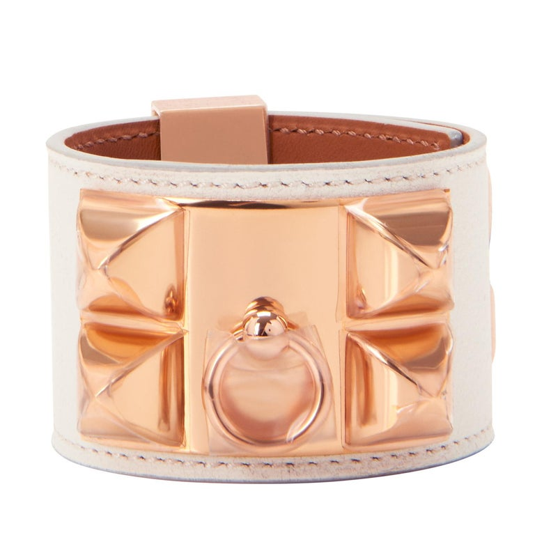 Women's or Men's Hermes White Blanc Collier de Chien CDC Cuff Bracelet Swift Rose Gold For Sale