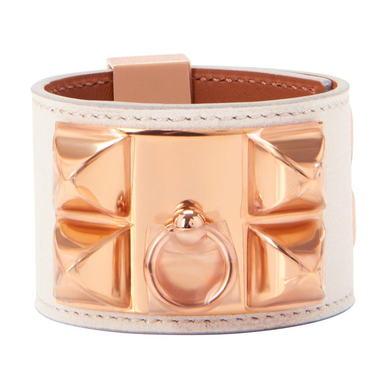 Hermes White Blanc Collier de Chien CDC Cuff Bracelet Swift Rose Gold For Sale