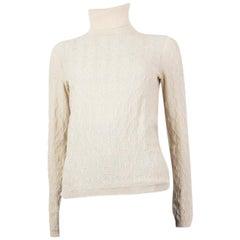 HERMES white cashmere JACQUARD TURTLENECK Sweater 34 XXS