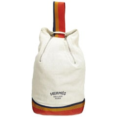 Hermes White Cavalier Sling Backpack