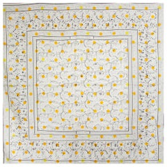 HERMES white CHASSE AUX POIS 140 TWILL silk Shawl Scarf