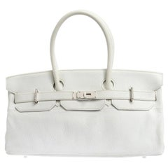 Hermes White Clemence Leather Palladium Hardware Shoulder Birkin 42 Bag