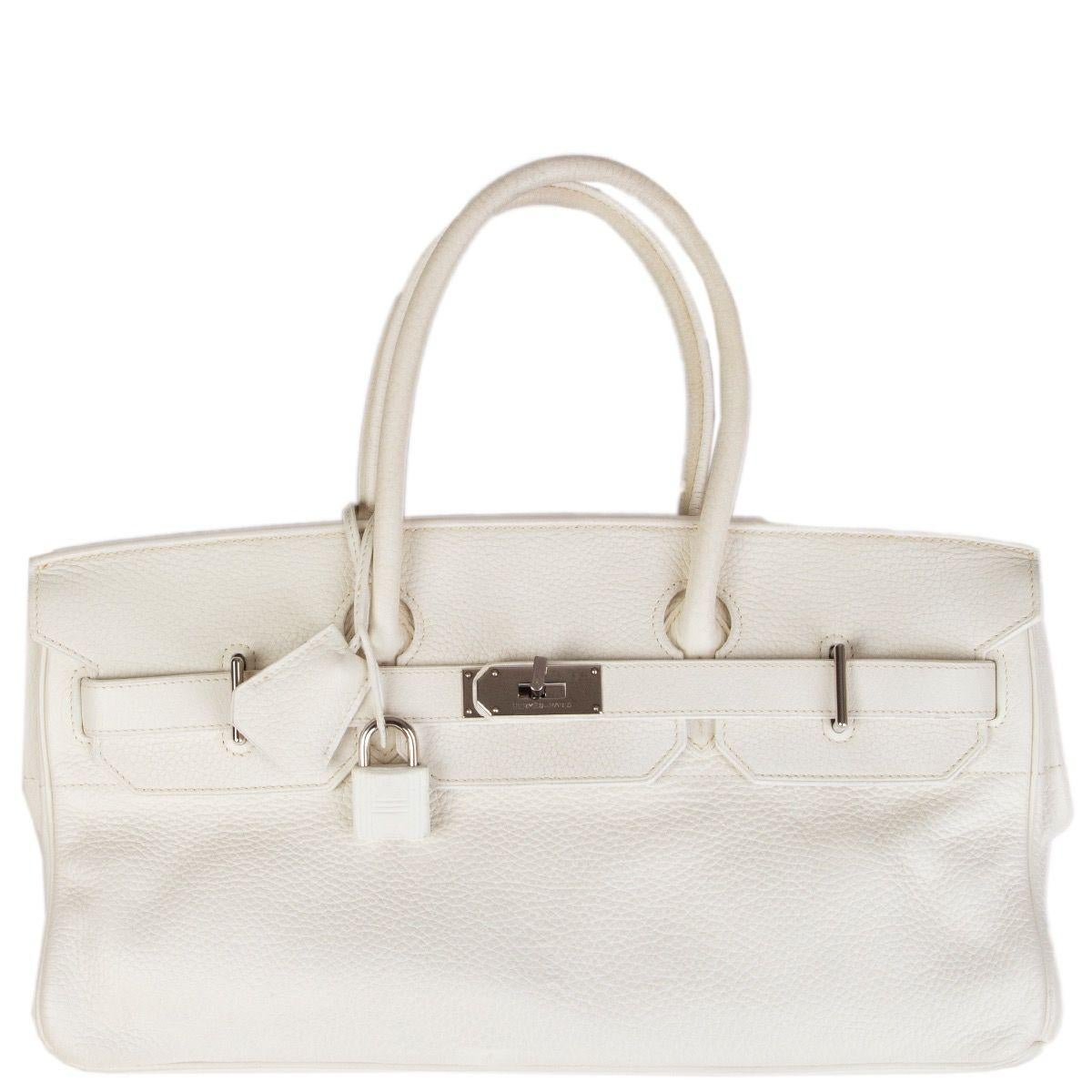 HERMES white Clemence leather & Palladium JPG I SHOULDER BIRKIN Bag